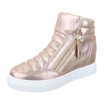Ital Design High Top Sneaker Damenschuhe High Top KeilabsatzWedge Wedges Reißverschluss Freizeitschuhe