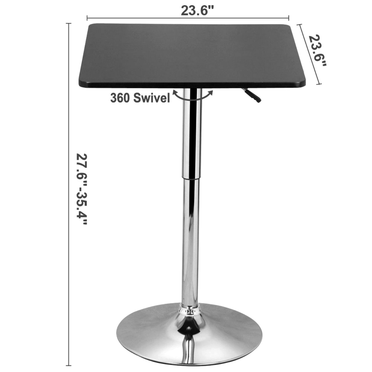 Modern Adjustable 360 Degree Swivel Counter Table 66Lb Capacity Hydraulic Lift Square Bar Table Black #657