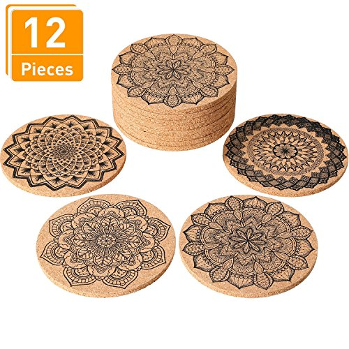 (Tatuo 12 Pieces 4 Inches Cork Coasters Absorbent Reusable Cup Mat Round Edge Coaster for Home Restaurant Office and Bar Drinks, 4 Styles)