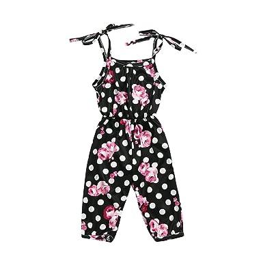 71e6a9e4528c Amazon.com  Tronet Baby Girls Halter Dot Floral Bowknot Shoulder ...