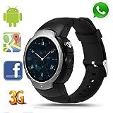 LEMFO LEM3 3G Smart watch, Android 5.1 OS, Quad Core support 2.0MP Camera Bluetooth SIM Card WiFi GPS Heart Rate Monitor, (LEM3 Gunmetal)
