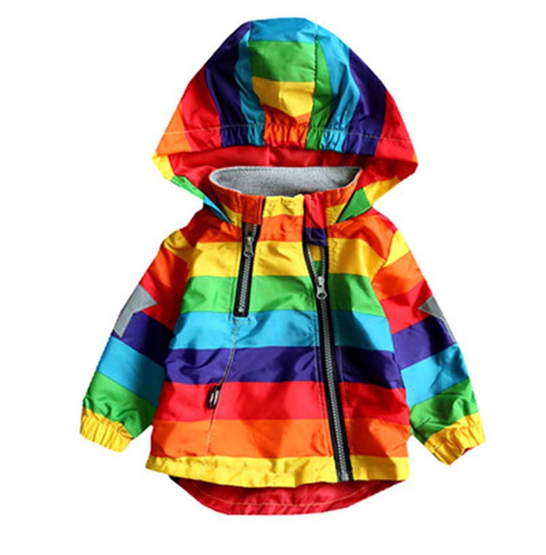 Boys Girls Rainbow Coat Hooded Waterproof Childrens Jacket for Spring Autumn Outwear