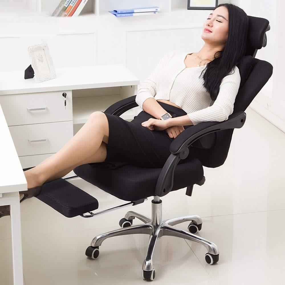 JIEER-C stol nät hög rygg vridbar kontorsstol andningsbar nät multifunktionell nackstöd dubbel kudde vardaglig och bekväm vilande bärvikt 150 kg flerfärgad valfri (färg: Blå) Svart
