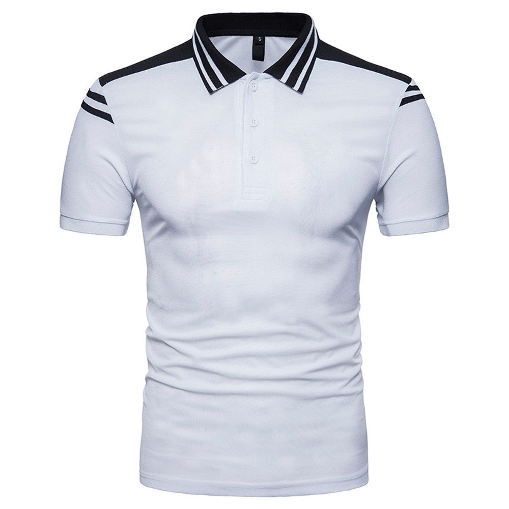 Men's Classic Fit Short Sleeve Solid Soft Cotton Polo Shirt White