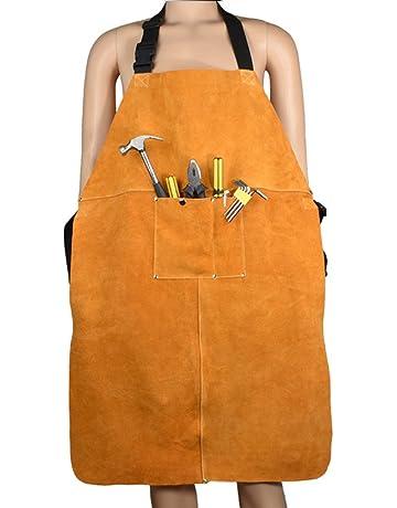 Delantal de soldadura de cuero de utilidad con 2 herramientas de bolsillo apto para hombres y