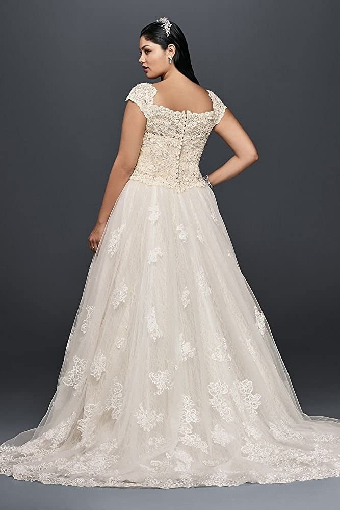 f20d1d884d60 Cap Sleeve Lace Plus Size Ball Gown Wedding Dress Style 8CWG768 at Amazon  Women's Clothing store: