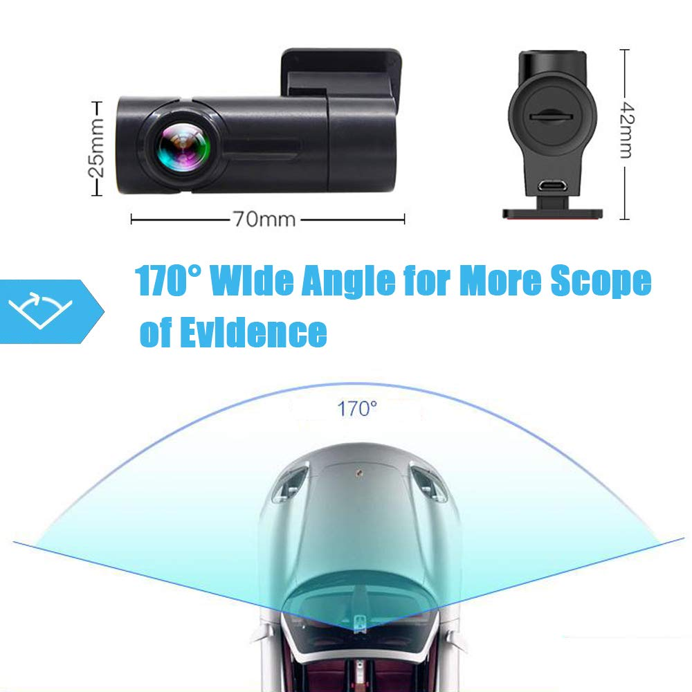 Dashcam HD 1080P DVR Autokamera Rekorder mit 170/° Weitwinkelobjektiv Nachtsicht Dash Cam,Loop-Aufnahme,270/°Bewegliches Objektiv Nachtsicht