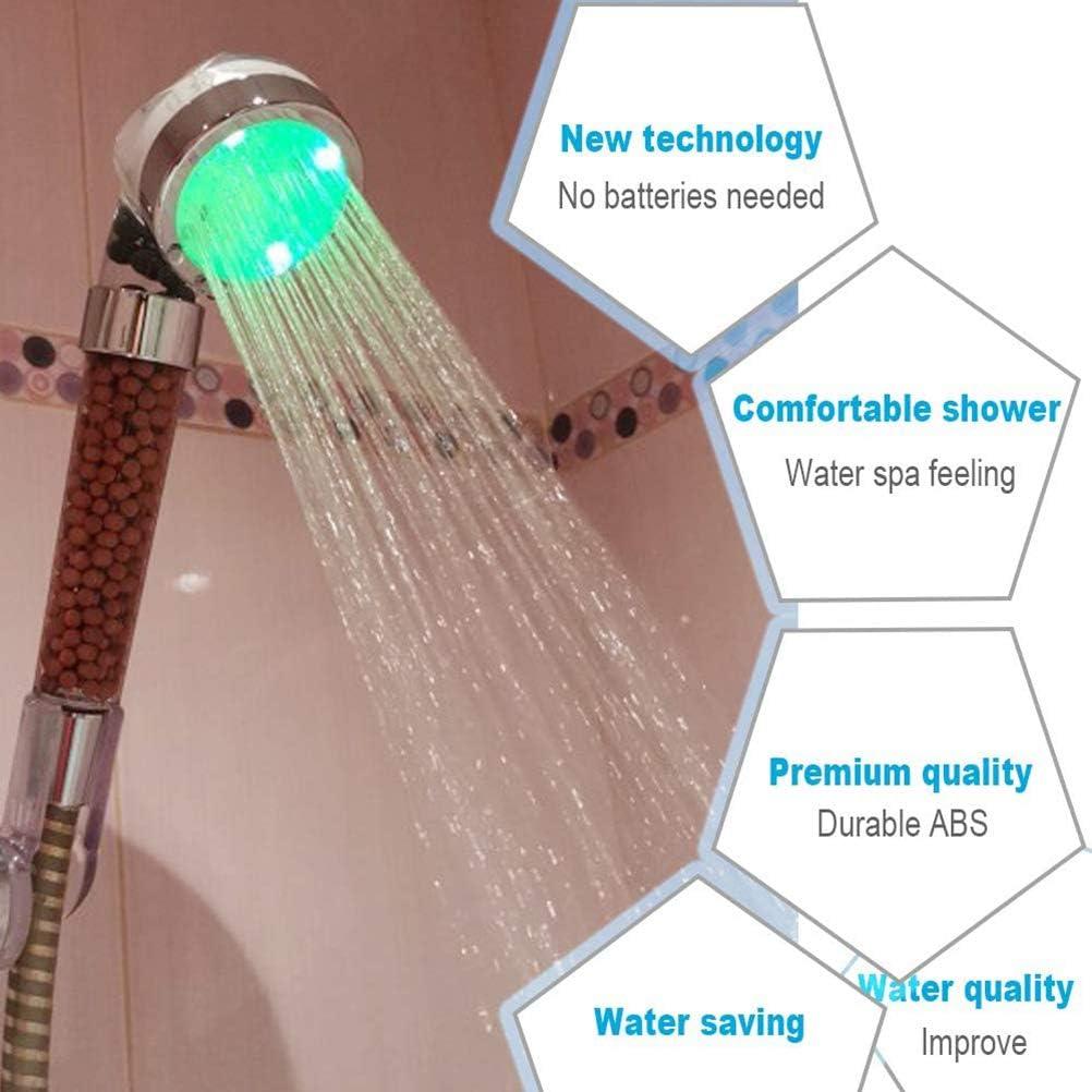 alta presi/ón y ahorro de agua para ba/ño de hotel iones negativos para purificaci/ón de agua Bsopem Alcachofa de ducha LED con 7 colores cambiantes