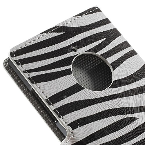 JUJEO Zebra Stripes PU Leather Case with Card Slots for Nokia Lumia 830 - Non-Retail Packaging - Multi