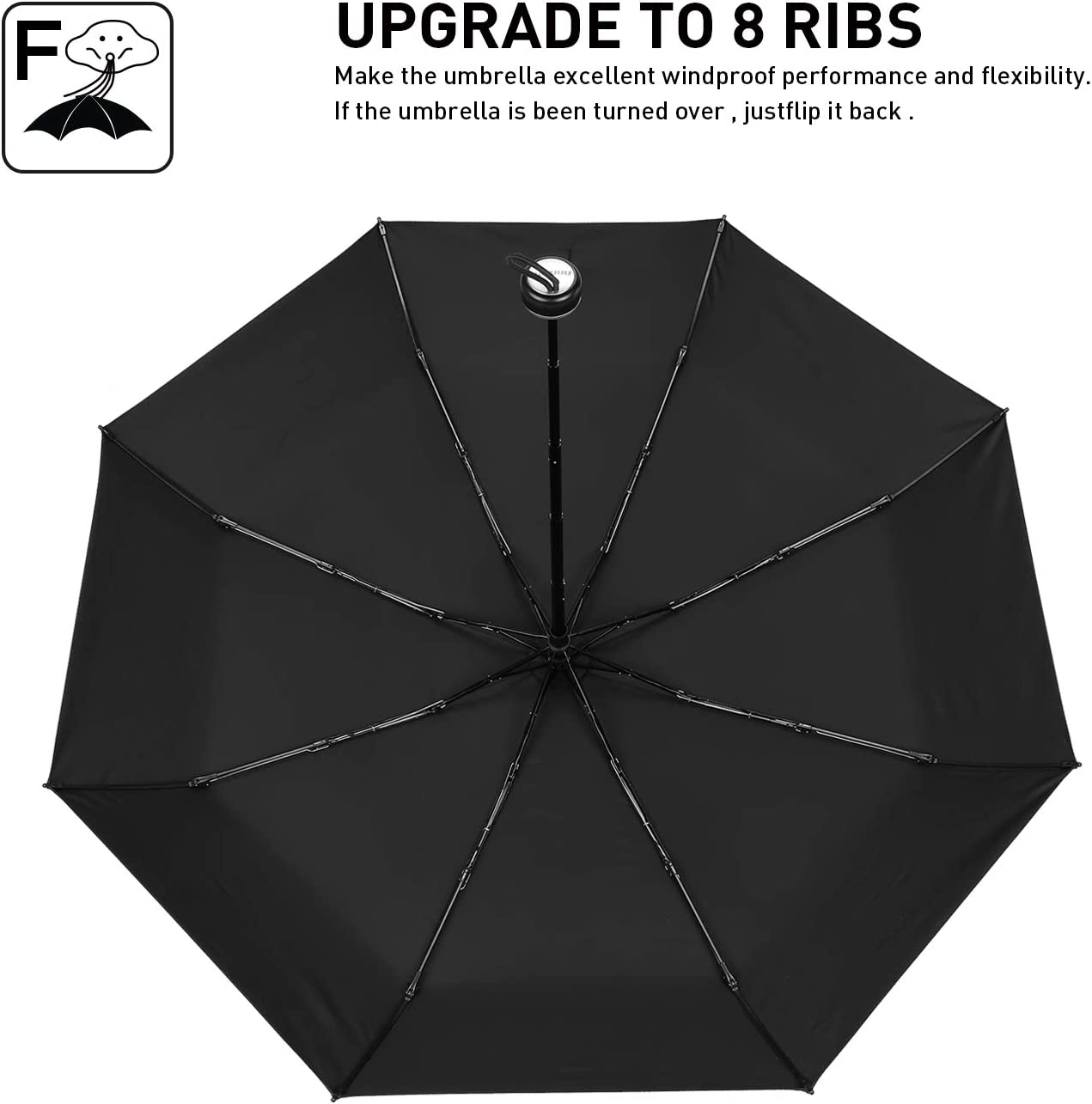 Compact Folding Reverse Umbrella for Outdoor/&Travel Brainstorming Windproof Travel Umbrella Inverted Automatic Open Close Umbrella with 8 Fiberglass Ribs,Teflon Coating Sun /& Rain