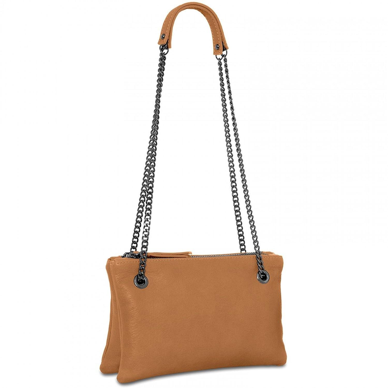 CASPAR Damen Ledertasche / Umhängetasche / Doppeltasche - mit zwei Fächern aus superweichem italienischen Nappa Leder - viele Farben - TL704, Farbe:cognac CASPAR Fashion