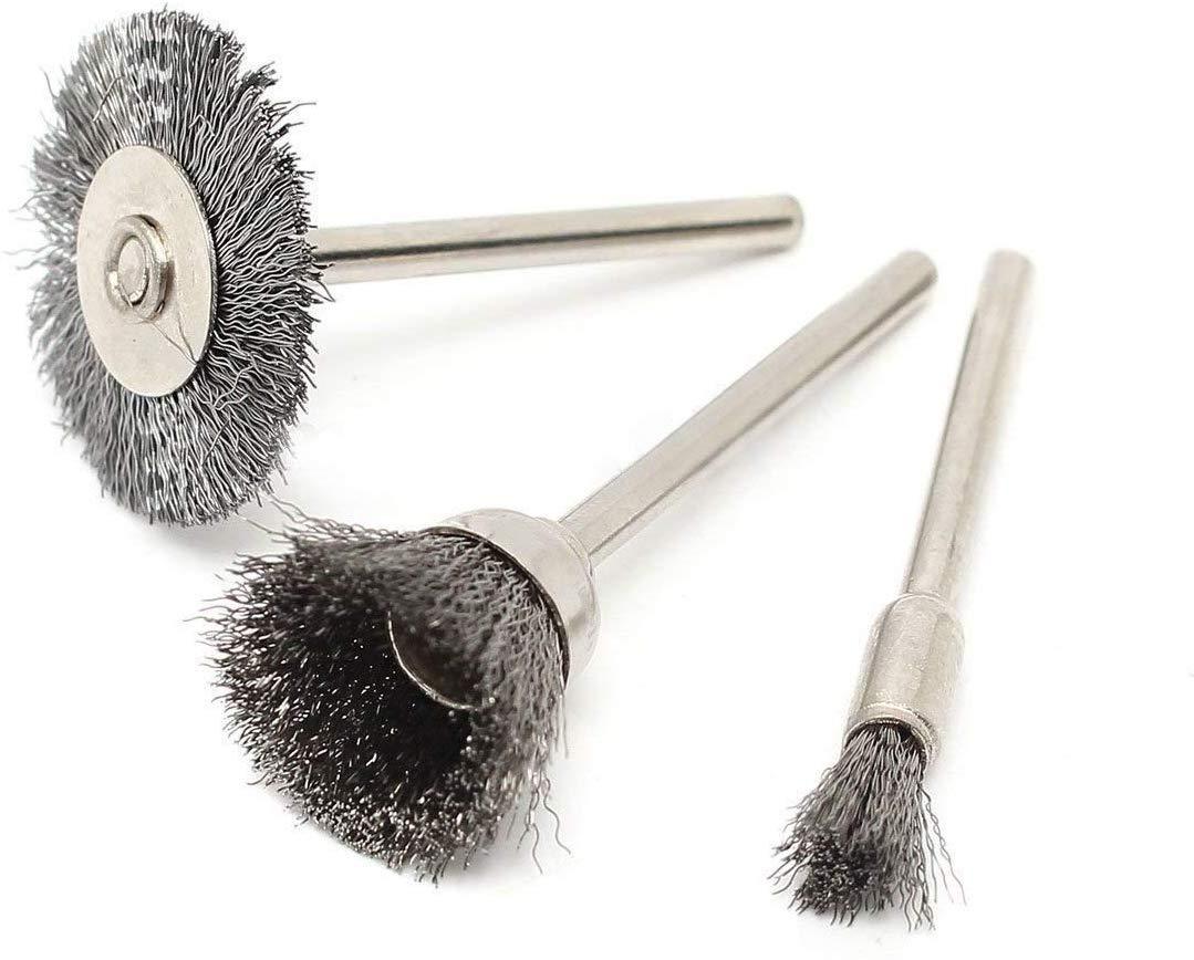Kit de nettoyage et de polissage Mini outil rotatif en acier ASelected Lot de 45 brosses m/étalliques pour perceuse Dremel Tige 3 mm