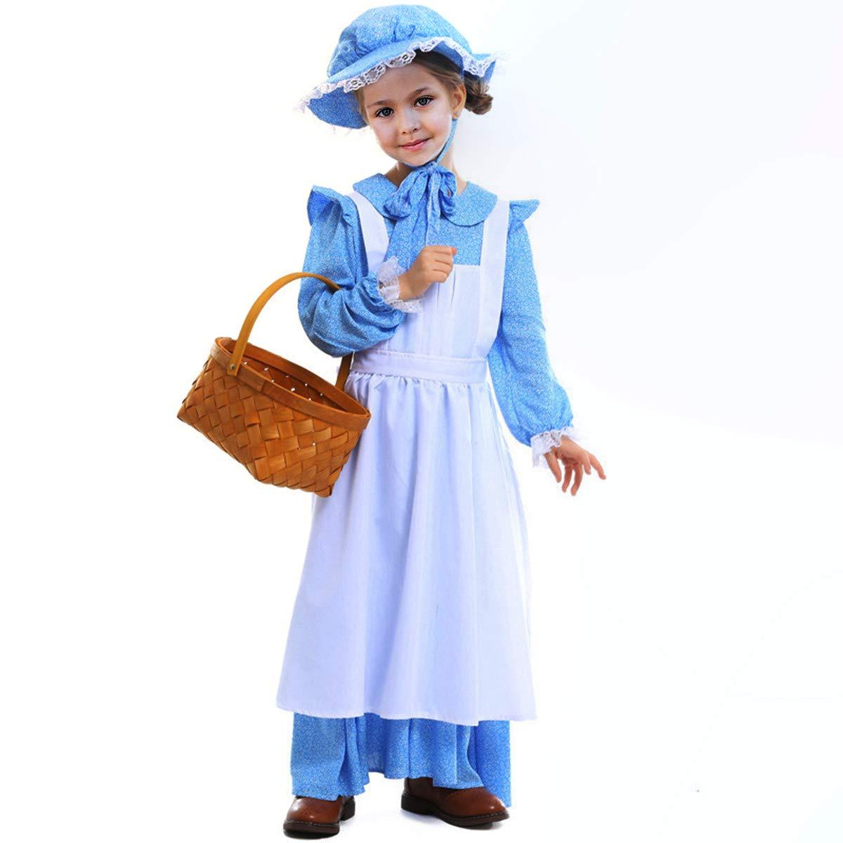 Sittingley Disfraz de pionero Colonial Medieval para niñas ...