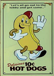 Retro Vintage Hot Dog 10c Diner Fast Food Movie Theater Home Bar Pub Kitchen Restaurant Wall Deocr Plaque Signs 12x8inch