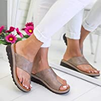 Women Comfy Platform Sandal Shoes, Womdee [2019 New] PU Leather Wedge Heel Sandals with Toe Arch Support Summer Beach Travel Shoes Fashion Sandals Comfortable Ladies Shoes