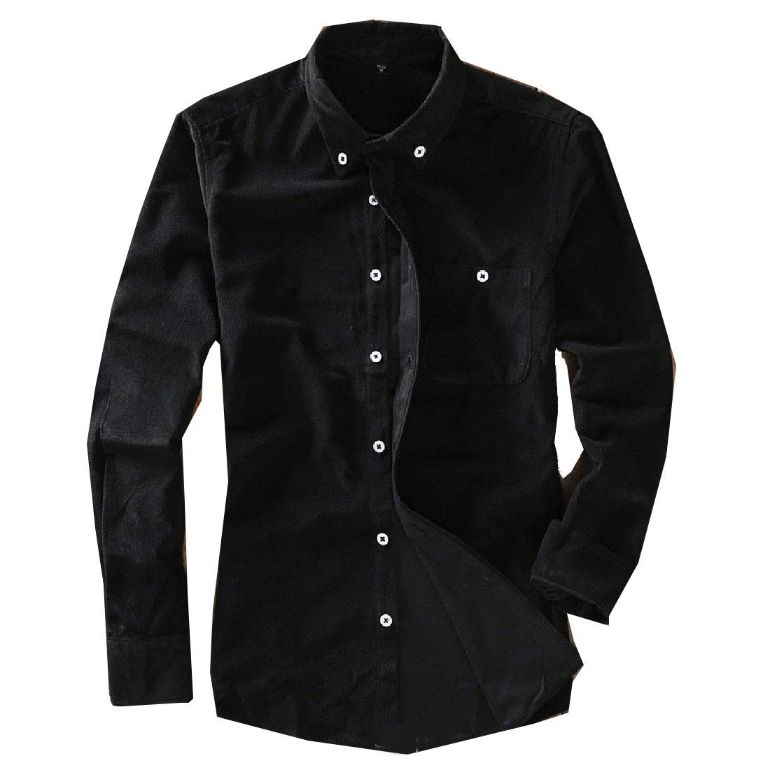 Zimaes-Men Pure Color Long-Sleeve Turn-Down Collar Corduroy Work Shirt