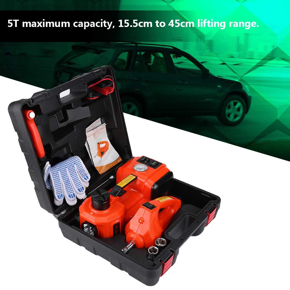 12 V 3 in 1 12 V DC 5 T auto elettrico idraulico sollevatore a pavimento 5T cric idraulico elettrico gamma di sollevamento 15,5 cm fino a 45 cm