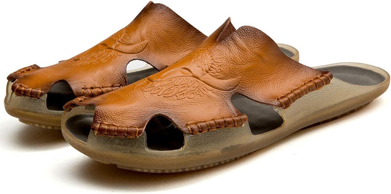 Leather Non-Slip Slippers Men Beach Sandals Summer Shoes Men Slippers Men Flip Flops,Brown,14
