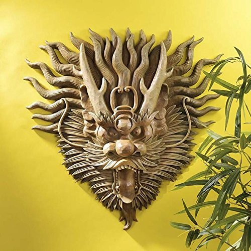 Design Toscano NG34875 Tibetan Sculptural Dragon Wall Mask