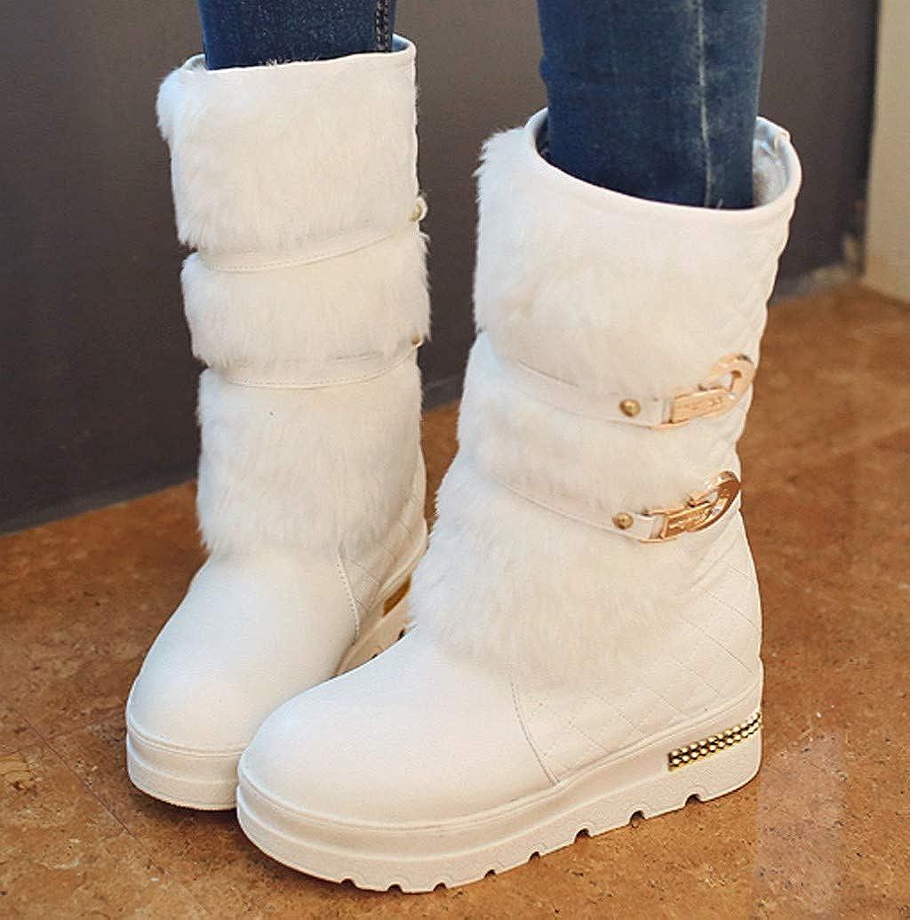 Women Wide Width Snow Boots,Nevera Faux Fur Design Platform Flat Keep Warm Boot Shoes Winter Mid-Calf Boots