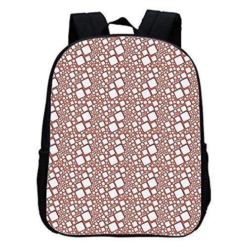 Abstract Fashion Kindergarten Shoulder Bag,Ornamental Squares with Oval Corners in Various Shapes Geometric Pattern For Hiking,One_Size