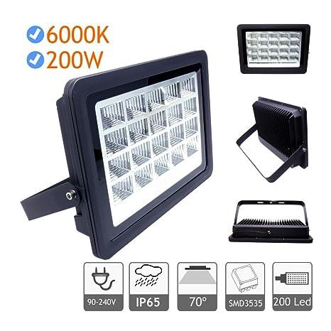 Foco proyector led exterior 200W 6000K negro 220V: Amazon.es ...