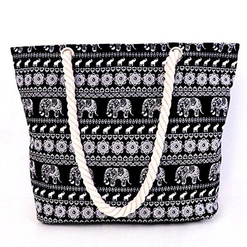 donna 1 shopping Middle a 34 da e per borsa vacanze Black in a tela spalla viaggio Blue 119 spiaggia secchiello adatta cm 3 Millya grande UHSqCwBxw