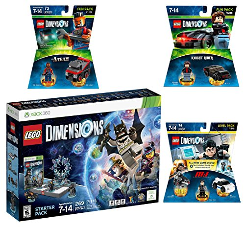 Lego Dimensions Demolition Starter Pack + Mission Impossible Level Pack + A-Team Fun Pack + Knight Rider Fun Pack for Xbox 360 Console by WB Lego