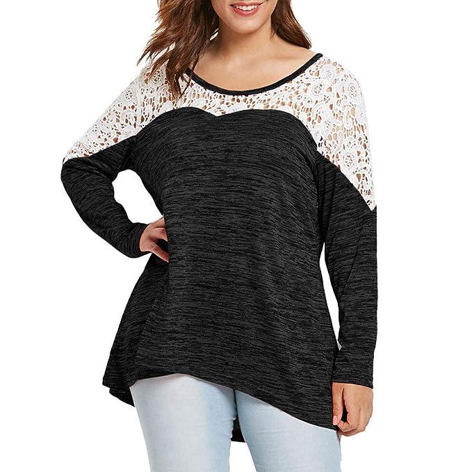 58332b8bdeb7 2019 NOVUO T-Shirt con Maniche Lunghe in Rappezzatura in Pizzo con Scollo a  Giro Manica Lunga Plus Size da Donna By WUDUBE  Amazon.it  Abbigliamento