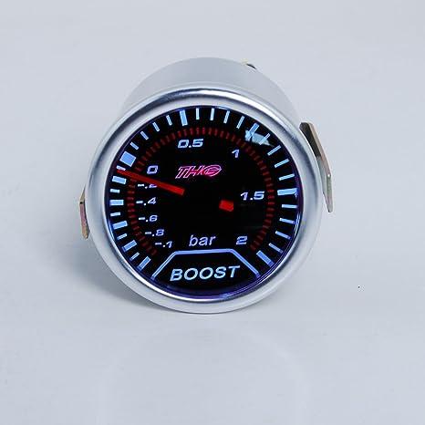 THG Universal Fit 2 pulgadas 52mm LED Auto Racing ahumado Digital Turbo Boost Gauge Vacšªo 2 BAR 12V de montaje: Amazon.es: Coche y moto