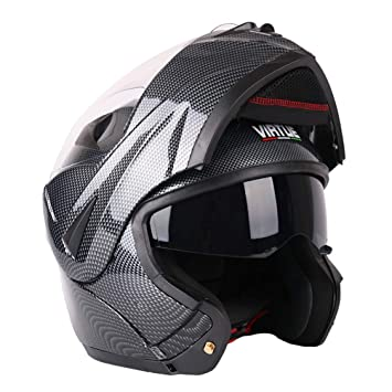 Amazon.es: Lente Doble Fibra de Carbono Bluetooth Moto Casco de la Motocicleta Mitad de Cara Antifogging Levantar el Casco de Moto All Seasons Gorra de ...