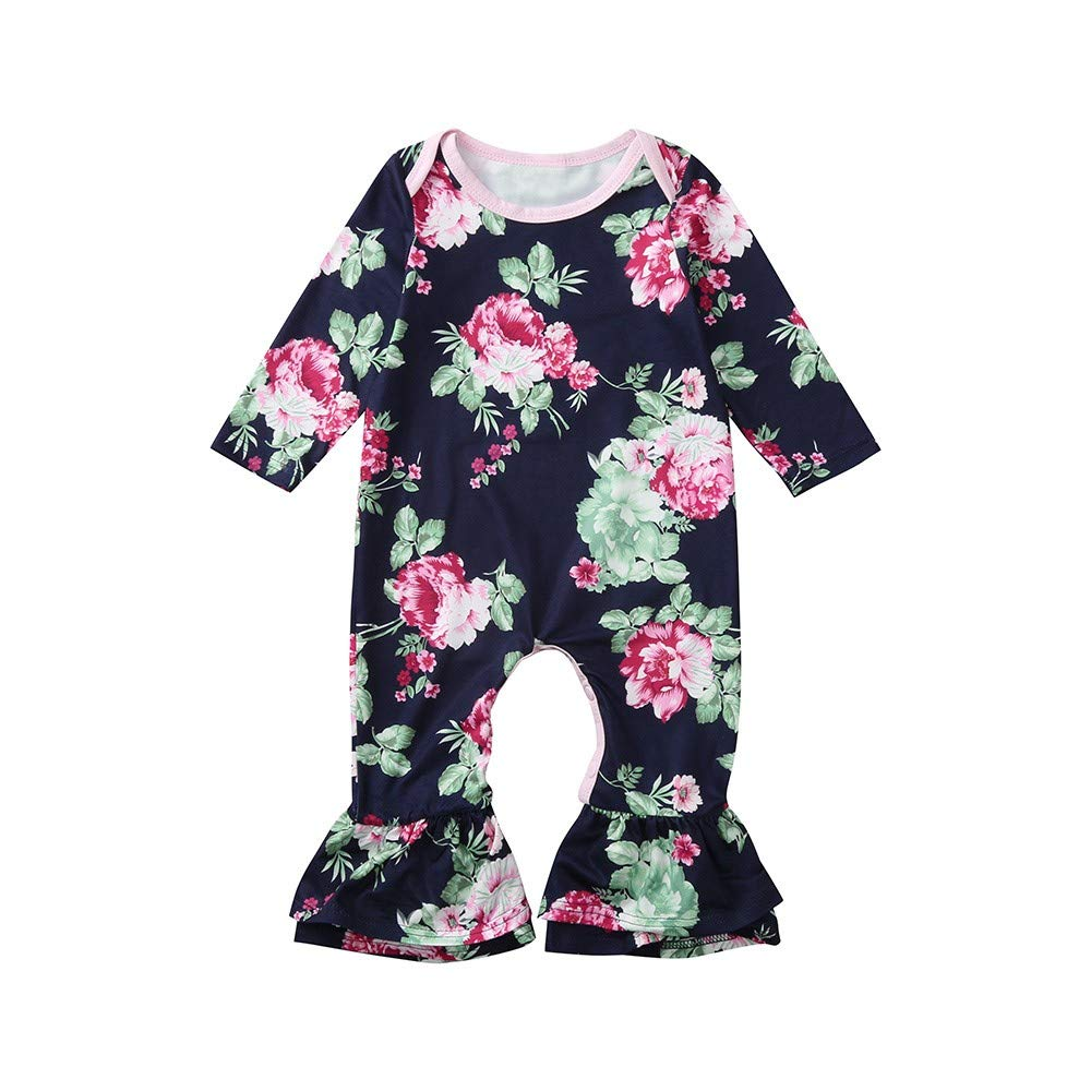Dream/_mimi Baby Girls Long Sleeve Flower Print Coverall Fashion Round Neck Romper