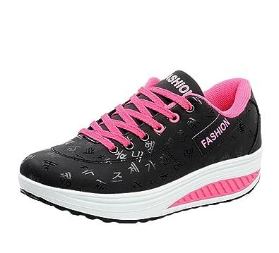 Jiyaru Womens Lace Up Low Top Sports Shoes Wedge Fashion Sneaker Black  US55