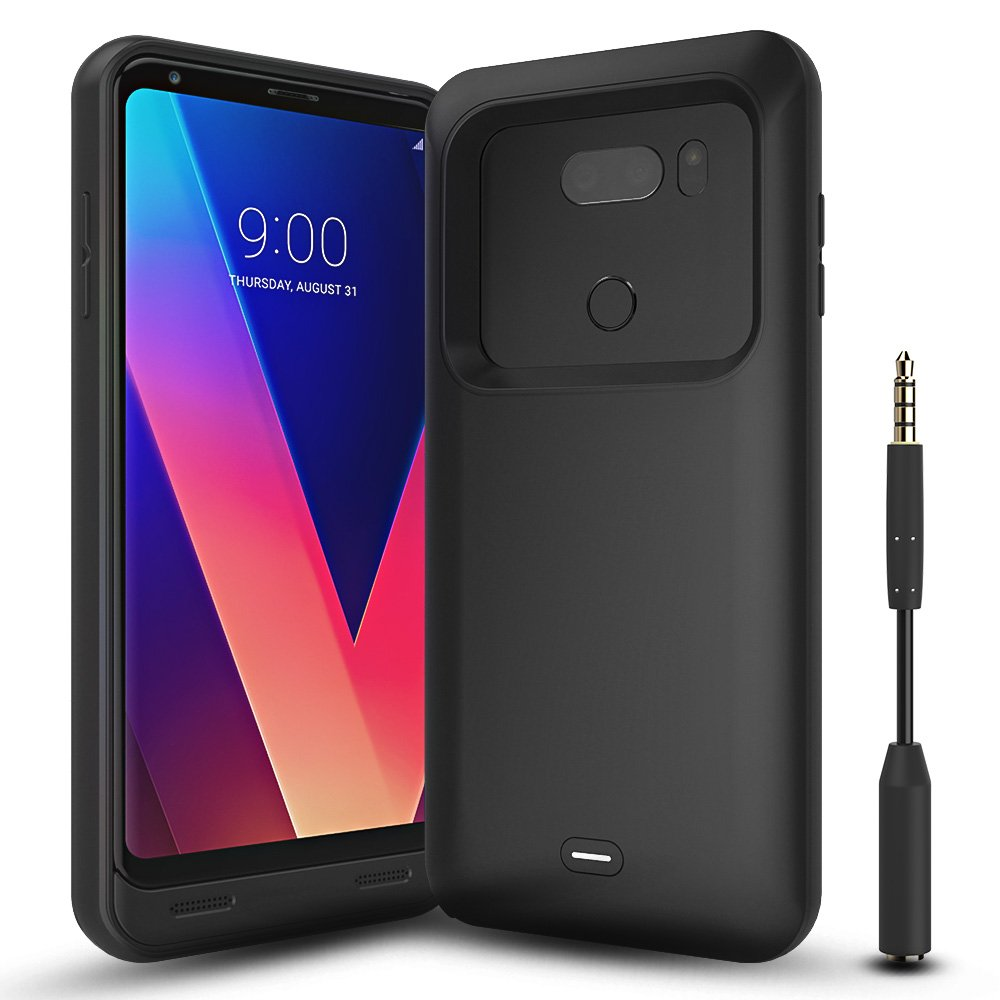 LG V30 Battery Case with Audio Jack Cable, ALCLAP 4400mAh Portable Charging Case Extended Rechargeable Power Charger Case for LG V30(6 inch)Battery Pack/Sync-Through Tech[USB Type C Cable Input]-Black