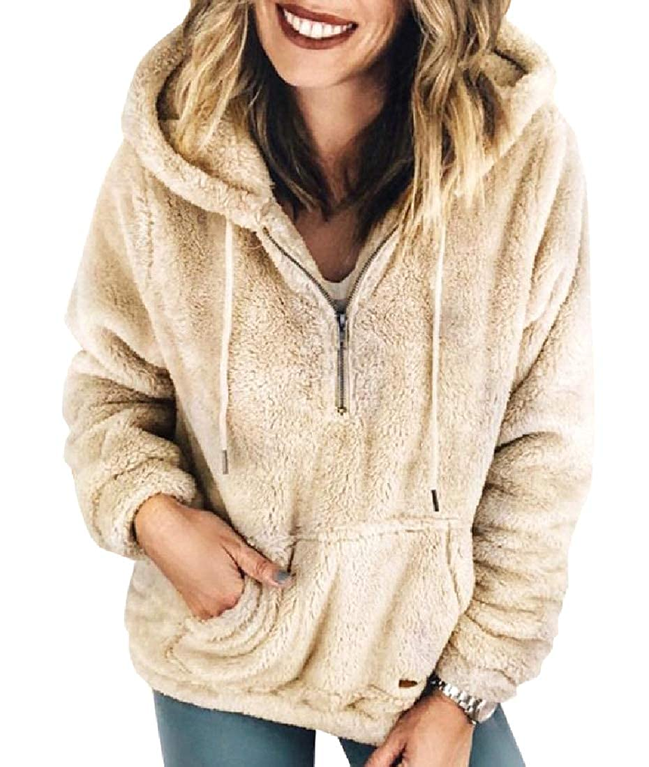 Winwinus Women Slim Casual Plus Velvet Quarter Zip Hooded Sweatshirts