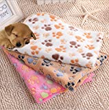 Yingshop Pet Small Large Paw Print dog Cat Mat Pig Puppy Kitten Fleece Soft Coral Blanket Bed Mat Cushion (Camel, S)