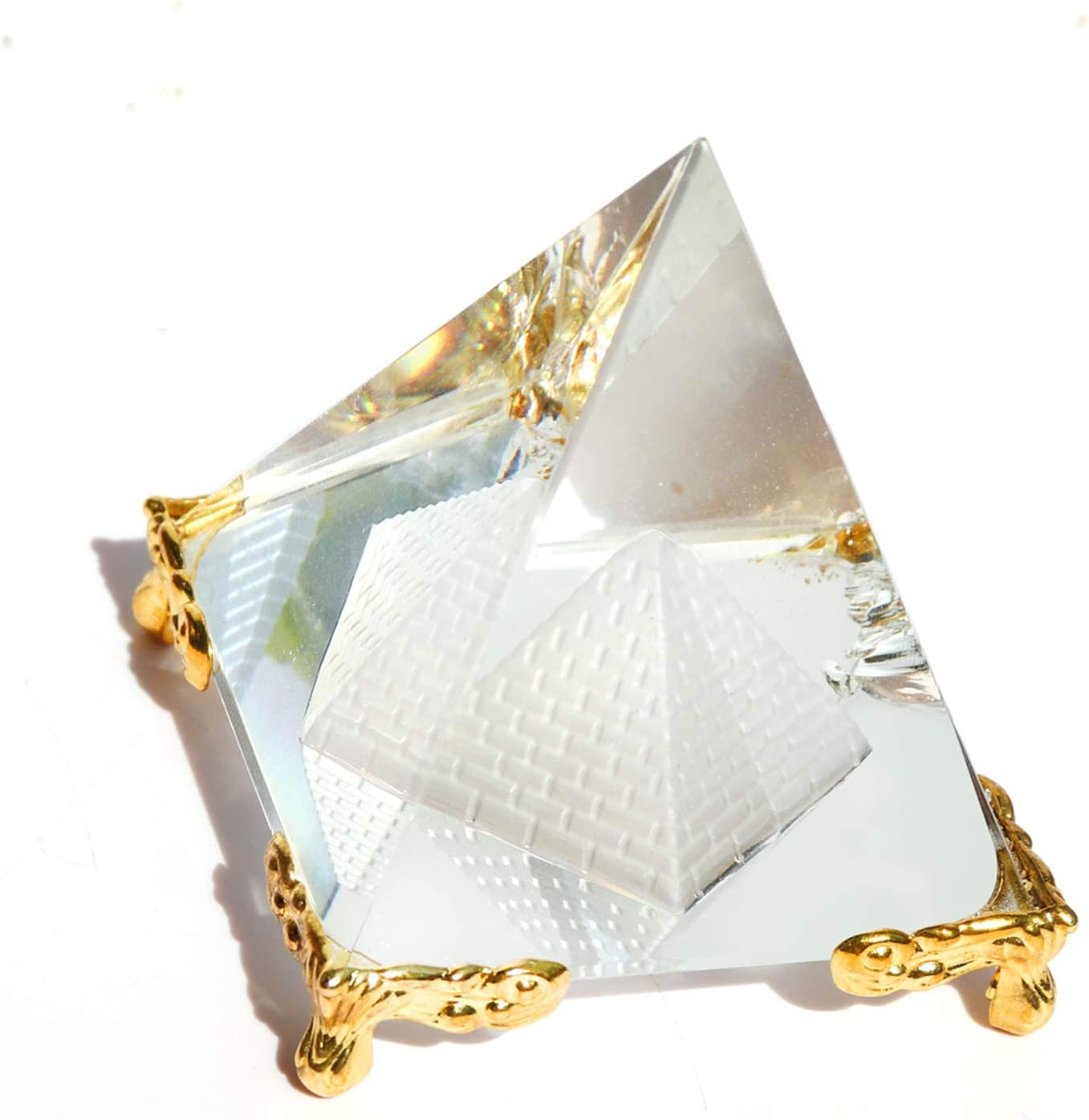 Together-life Crystal Pyramid Prism, Feng Shui Crafts Meditation Crystal with Gold Stand for Home Office Art Decor, Pyramids Gift, Stand for Prosperity, Positive Energy and Good Luck