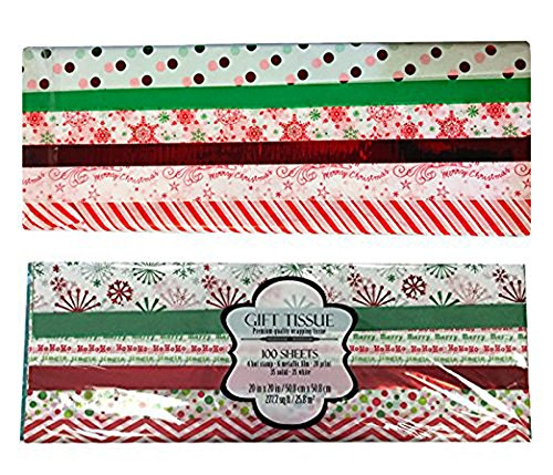 200 Sheets of Christmas Gift Tissue Paper, Paper and Mylar ChristmasTree and Snowflake Themed Sheets by ALEF