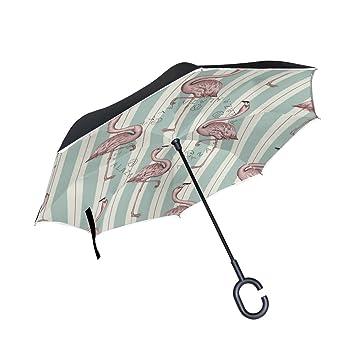 DragonSwordlinsu Flamingo - Paraguas invertido de Doble Capa para Coche y Exterior, Resistente al Viento