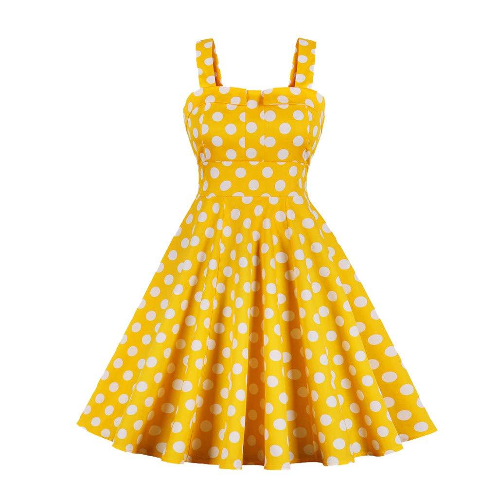 Women's Retro Vintage 1950s Style Sleeveless Plus Size Swing Party Dress Yellow