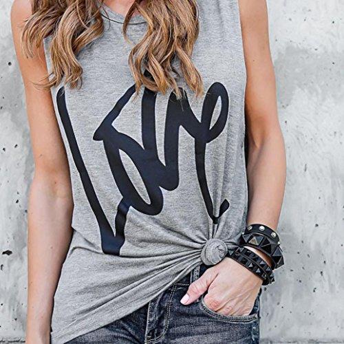 gilet For Maglietta di sciolto Girocollo Woman di Love senza Print Letter maniche maniche Summer colore lunghe Camicetta Women Adeshop puro a Y8PgF8