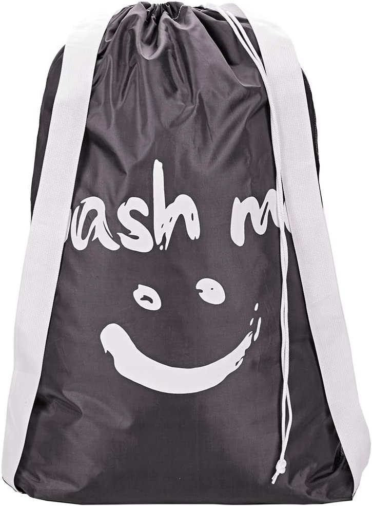 HOMEST Wash Me Laundry Bag with 2 Shoulder Straps, Machine Washable Nylon Large Dirty Clothes Organizer for Camp, Fits Laundry Hamper or Basket, Black