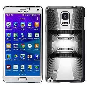 TopCaseStore / la caja del caucho duro de la cubierta de protección de la piel - Architecture Black White City - Samsung Galaxy Note 4 SM-N910