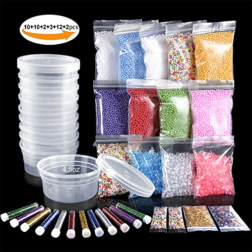 Slime Making Materials kit, Teenitor 10 pcs Slime Storage Containers and12 pcs Glitter Jars , 10 Pack Foam Beads, 3 pcs Fishibowl Beads, 2 Pack Confetti& 2 Pack Fruits Pieces for Art DIY Slime - Best Glue Foam