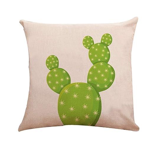 Decoración para el hogar Funda de cojín Cactus Algodón Lino ...