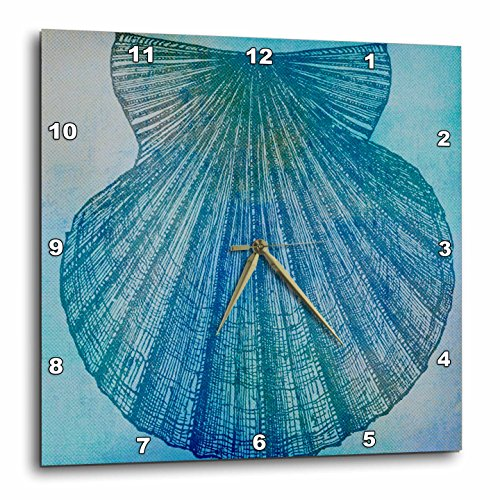 Large Aqua Shell Beach Theme Art Wall Clock, - Cottage wall art