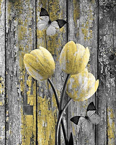 - Yellow Grey Wall Decor, Tulip Flowers & Butterflies, Littlepiecreations Original Photo USA Handmade Artwork 8