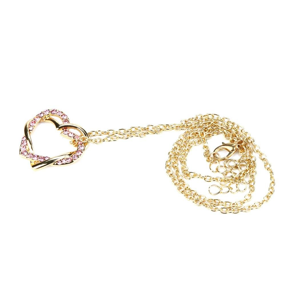 Necklace - Odeer New Fashion Women Double Heart Pendant Necklace Chain Jewelry - 0.98 x 0.62 inch (C)