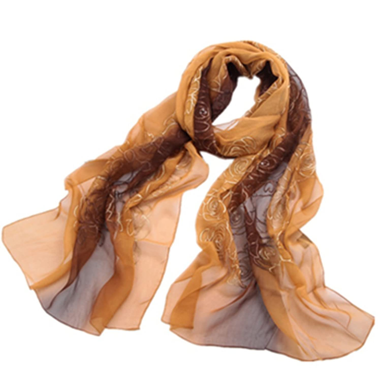 QYQS Women's Gradient Color 100% Silk Long Soft Scarf Wrap Shawl