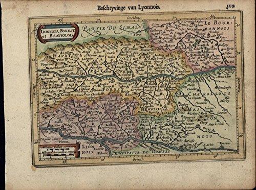 Lyon France Lionnois Bourbon antique beautiful c.1628 Mercator minor old map (Mercator Antique Map)
